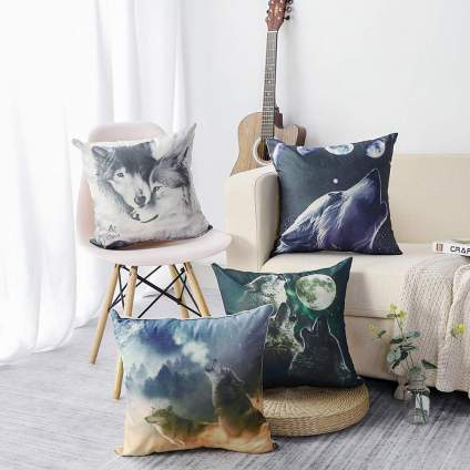 Set of Four Wolf Throw Pillows