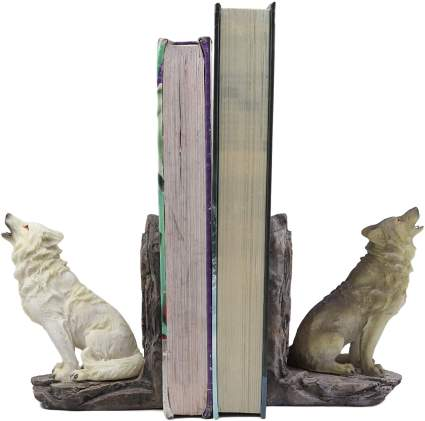 Howling Gray And Snow Wolves Decorative Small Bookends Figurine