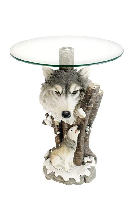 Glass Top Color Sculpture End Table - Wolf