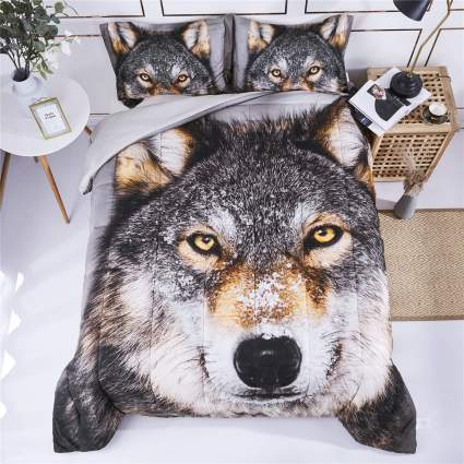 Wolf Head Animal Print Comforter Set