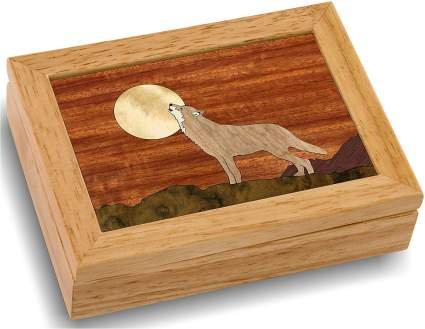 Wood Art Wolf Box