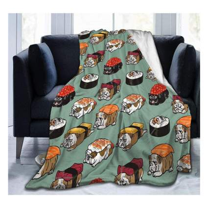 Throw blanket with sushi dogs
