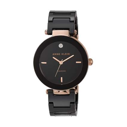 black and gold diamond accent watch