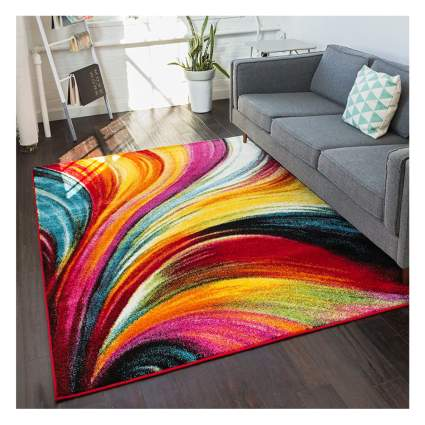 bright abstract area rug