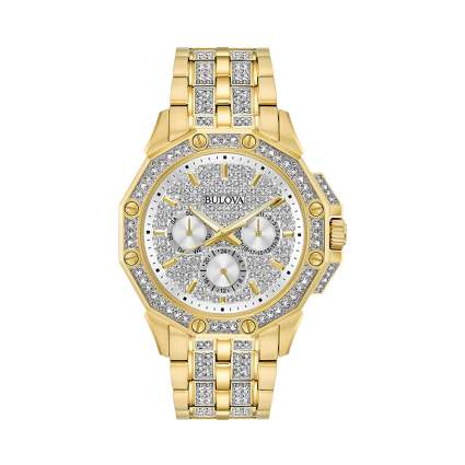 men's crystal studded watch