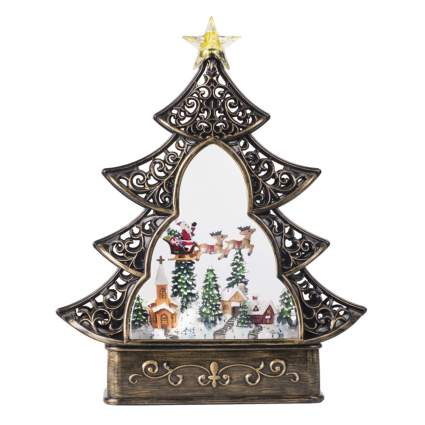 christmas tree musical snow globe