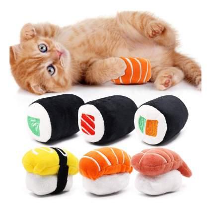 Sushi shaped catnip toys