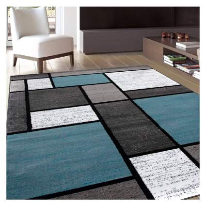 contemporary boxes area rug