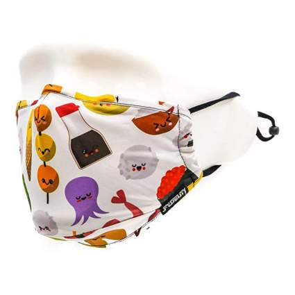 Cloth face covering with cute sushi pattern