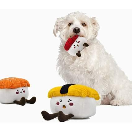 Sushi dog toys with white dog
