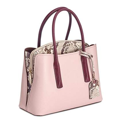 pink purse with snakeskin accents