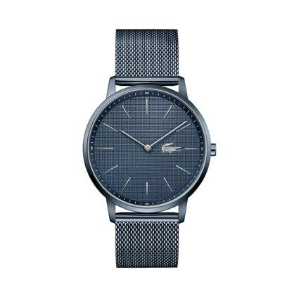 blue stainless steel watch with mesh band