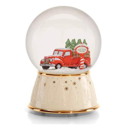 red christmas truck musical snow globe