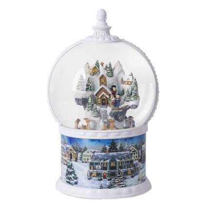 lighted winter village snow globe