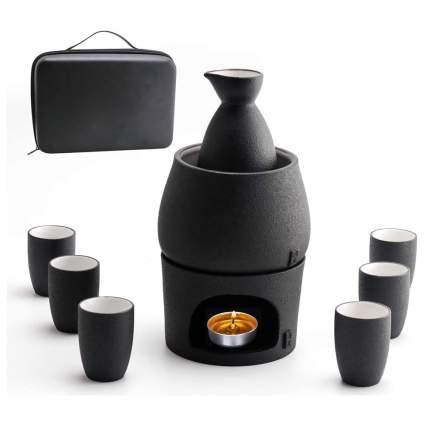 Black sake warming set