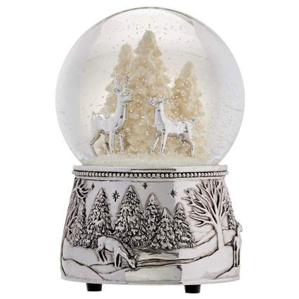 deer in the forest snow globe