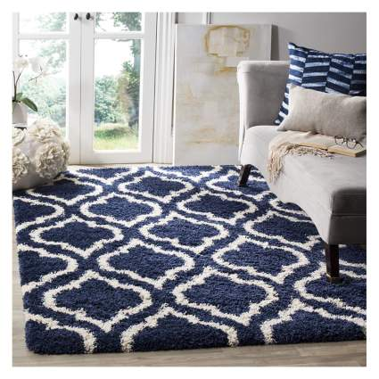 geometric pattern shag rug