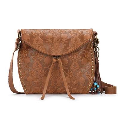 embossed leather crossbody bag
