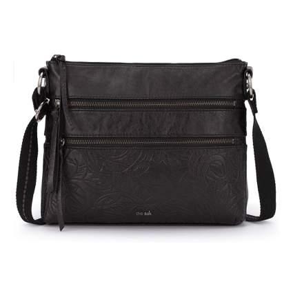 black embossed crossbody bag