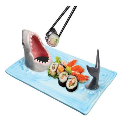 Sushi plate with 3D shark