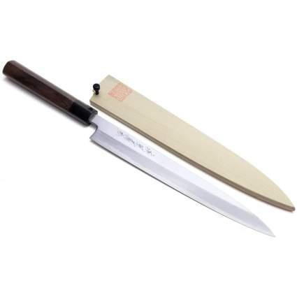 Japanese sushi knife with wooden sheath