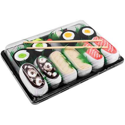 Socks that look like a platter of sushi