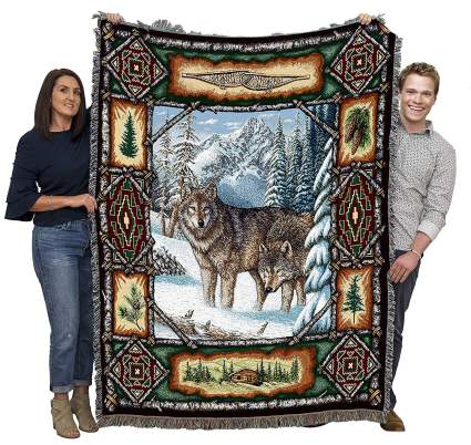 Wolf Lodge Woven Tapestry Throw Blanket