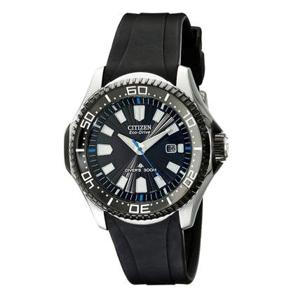 analog diver's watch with black band