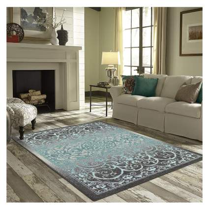aqua and gray medallion area rug