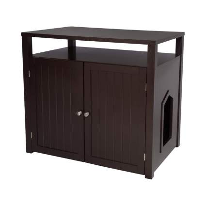 Arf Pets Cat Litter Box Furniture Enclosure House with Table