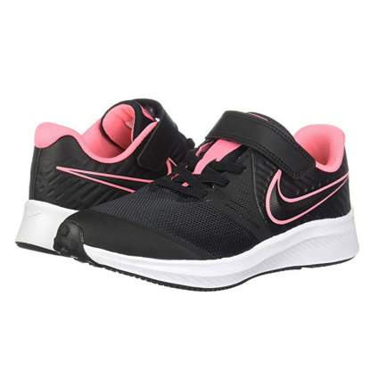black and pink kids running shoe