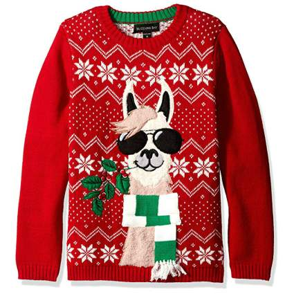 Blizzard Bad Llama Kids Ugly Christmas Sweater