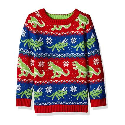 Blizzard Bay Dinosaur Stripe Kids Ugly Christmas Sweater