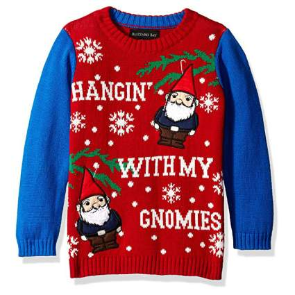 Blizzard Bay Hangin' with My Gnomies Kids Ugly Christmas Sweater
