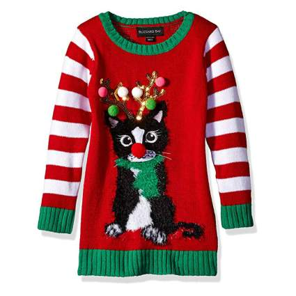 Blizzard Bay Reindeer Cat Kids Ugly Christmas Sweater