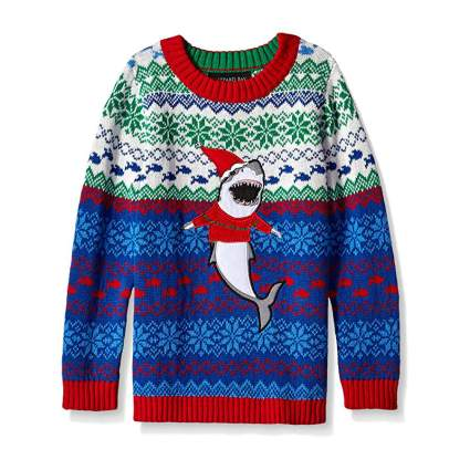 Blizzard Bay Santa Shark Kids Ugly Christmas Sweater