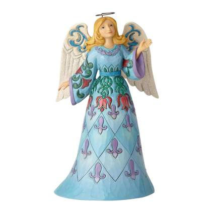blue angel figurine with tole painted design