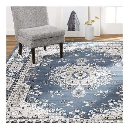 blue floral print asian inspired area rug