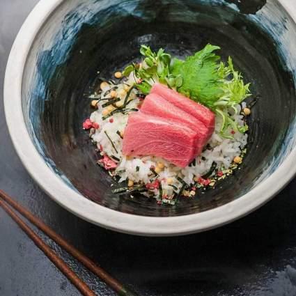 Tuna sashimi on rice
