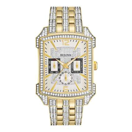 crystal studded men's square face watch