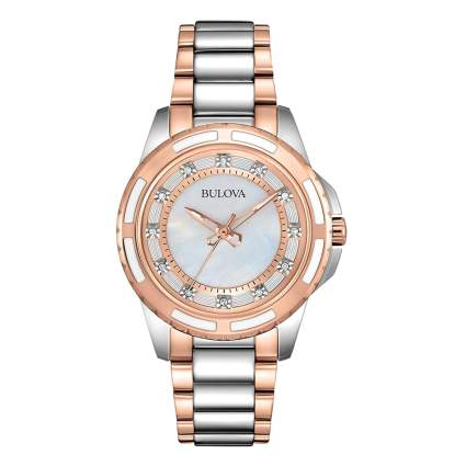 rose gold and stainless diamond bezel watch