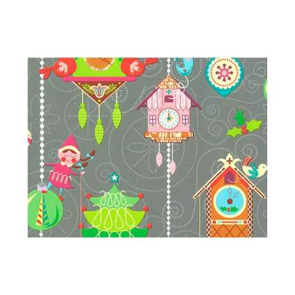 Buttons Bags and Bows Christmas Elves Gift Wrapping Paper