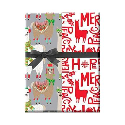 CakeSupply Shop Celebrations Happy Llama Double Sided Christmas Wrapping Paper