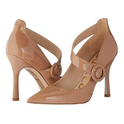 caramel patent leather side buckle pumps