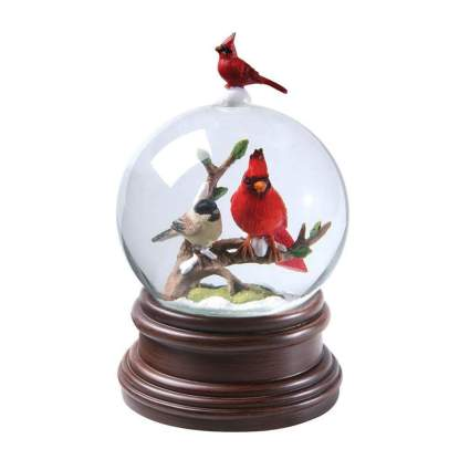 cardinal and chickadee snow globe