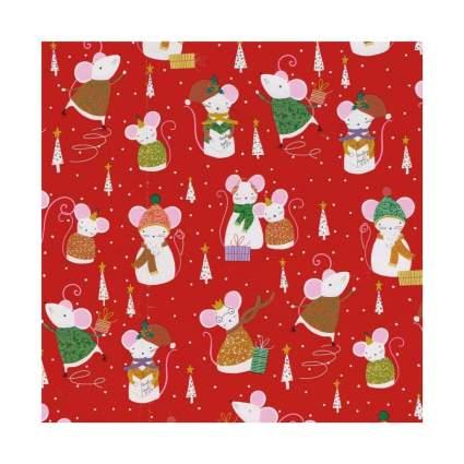 Caspari Simon Says Red Mouse Christmas Wrapping Paper