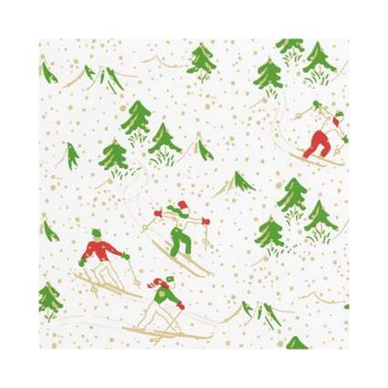 Caspari Winter Sports White Christmas Wrapping Paper