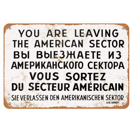 checkpoint charlie metal wall sign