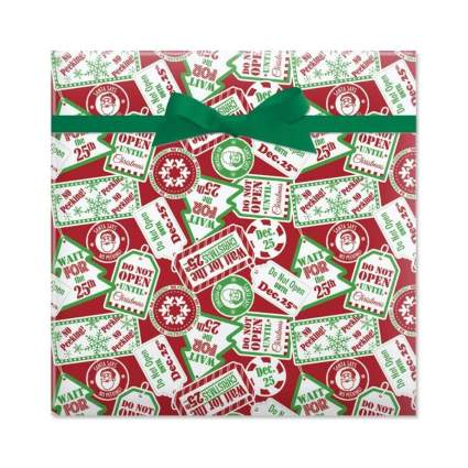 current Do Not Open Until Christmas wrapping paper