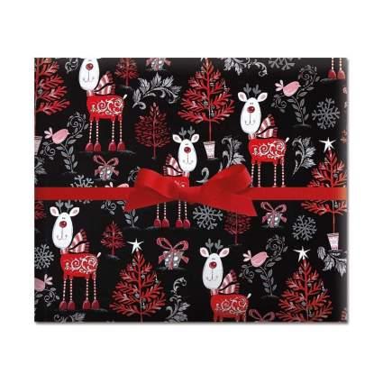 Current Reindeer on Black Jumbo Rolled Gift Wrap